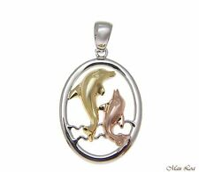 925 Sterling Silver Tricolor Yellow Pink Rhodium Hawaiian Dolphin Oval Pendant