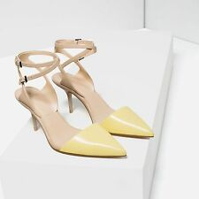 ZARA MEDIUM HEEL LEATHER SHOES WITH DOUBLE ANKLE STRAP SIZE 6