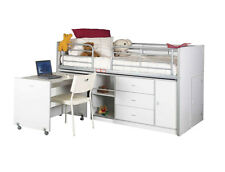 Dagwood White Timber and Steel SINGLE Size Midi Sleeper Bunk Bed - BRAND NEW