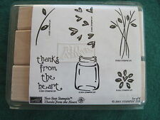 Stampin Up - THANKS FROM THE HEART TWO STEP - 6 rubber UNMOUNTED Wood stamps