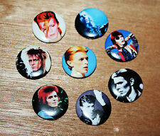 8 piece lot of David Bowie pins buttons badges