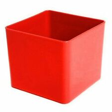Cube Plastic Planter 10.5cm Red - Square Flower Pot - Home & Garden Container