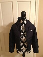 NWOT Abercrombie Kids DOWN WINTER COAT With Hood Girl's Size Large Navy $120