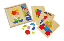 Wooden Mosaic Shapes Puzzle Box Geometric Shape Picture Art Creative Craft Toy