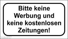 3x Bitte keine Werbung und kostenlos Zeitungen! 40x70mm TRANSPARENT!