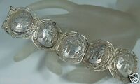 VINTAGE EGYPTIAN REVIVAL SILVER FILIGREE SPHINX PANEL BRACELET MARKED