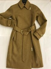New J.Crew BELTED ZIP TRENCH COAT IN WOOL MELTON J Crew E4396 Mustard Size 0