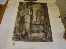 Vintage PRINT: BURGOS CATHEDRAL from an etching by HAIG churchman co NY