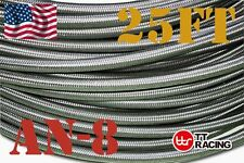 -8an AN8 Braided Stainless Steel Fuel Hose Oil Line Track Car Racing 25ft
