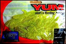 "YUM WALLEYE GRUB 3"" (7,5 cm) CHARTREUSE SILVER color - packet of 25 pcs!!"