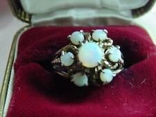Vintage Pretty Estate 925 Sterling Silver Seven Fire Opals Ring Size 7.75  #1625