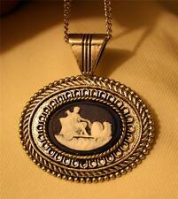 Handsome Rope Rimmed Silvertone Greek Roman Warrior in Chariot Pendant Necklace