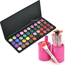 40 Colors Professional Eyeshadow Matte Shimmer Palette Brush Makeup Kit 23B#820P