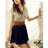 Fashion New Korean Women Chiffon Summer Short Sleeve Dots Polka Waist Mini Dress
