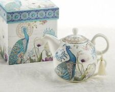 Delton Products Peacock Porcelain Tea for One in Gift Box New