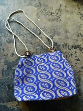 Womens Blue / Beige Printed Rope Strap Sweater / Sack Cloth Fabric Shoulder Bag