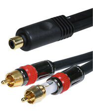 6 inch 1 Female Jack to 2 Male Plugs RCA Audio Cable Splitter Y Adapter New