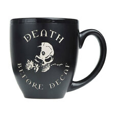Alchemy Gothic Death Before Decaf Skull and Roses Ceramic Coffee Cup Mug