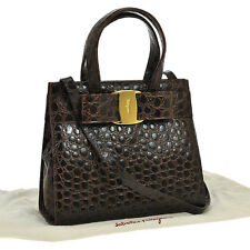 Auth Salvatore Ferragamo Vara Bow 2way Hand Bag BR Embossed Leather VTG BA01486