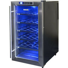 18 Bottle Stainless Steel Wine Cooler w/ Blue Light, Free Standing Refrigerator