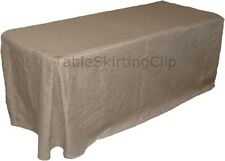 8 FOOT JUTE BURLAP FITTED TABLECLOTH W/ PLEATED CORNERS - JUTE TABLECLOTHS