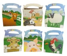 24 Farm Yard Animals Boxes ~ Picnic Carry Meal Food Loot Birthday Party Bag Box