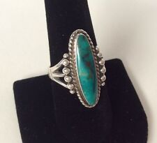 VINTAGE NAVAJO NATIVE AMERICAN STERLING SILVER & NATURAL TURQUOISE RING