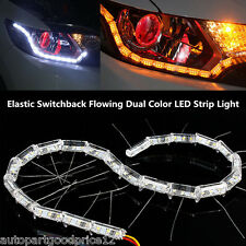 2x Switchback Flowing LED Strip Light Sequential Turn Signal Headlight Retrofit
