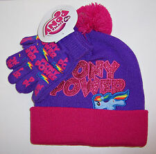 MY LITTLE PONY Pony Power Purple/Pink Glitter KNIT HAT Pom-Pom BEANIE GLOVES SET