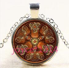 Vintage Celtic Shield Cabochon Tibetan silver Glass Chain Pendant Necklace #3724