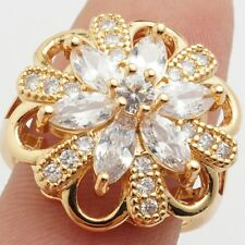 24K Gold Plated Attractive Jewelry Clear Cubic Zirconia  Ladies Rings Size 8
