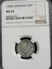 1900 J GERMANY 50 PFENNIG SILVER COIN GRADED MS63 by NGC RARE DATE