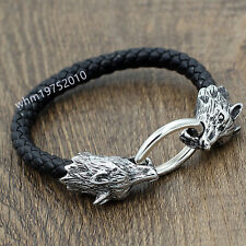 Men's Stainless Steel Wolf Head Black Genuine Leather Bracelet Biker Bangle Cuff