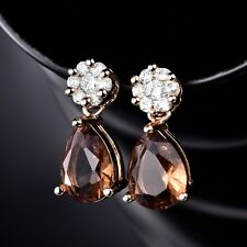 Antique 18k Yellow Gold Filled Smoky Sapphire Crystal Stud Dangle Earrings Gift