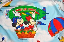 Vtg Disney Bed Sheet Set Mickey Mouse Air Mobile Quilted Comforter 80s Retired