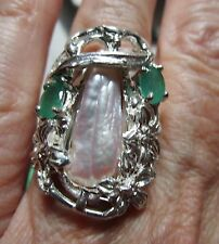 LADIES DESIGNER FLORAL STYLE BIWA PEARL EMERALD ONE OF A KIND STERLING RING