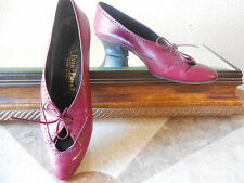 Evan Picone womens vintage red burgundy leather med heel oxford  lace up 7 AA