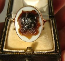 Antique Victorian Hardstone Agate Carved Cameo Gold Ring of Zeus