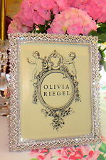 "Olivia Riegel Noble Swarovski Crystal & White Enamel 8"" x 10"" Photo Frame NEW!"