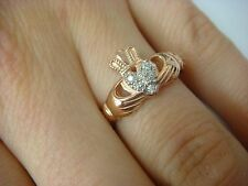 14K ROSE GOLD IRISH GIRL`S-LADIES LOVE CLADDAGH RING-BAND WITH DIAMONDS 4.1 GRAM