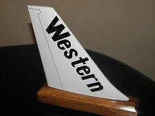 WESTERN AIRLINES WOOD DESK MODEL AIRPLANE TAIL AIRLINE PILOT GIFT FATHERS DAY !