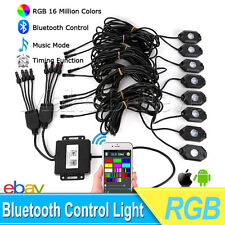 8x Pod RGB LED Rock Lights Wireless Bluetooth Music RGB Color Accent Under Car