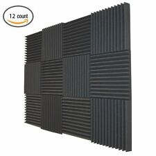 "12 Pack Soundproofing Acoustic Wedge Foam Tiles Wall Panels 12"" X 12"" X 2"""