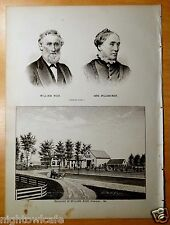 Antique Print MR.& MRS.WILLIAM RICH Residence 1880 Standish, Maine