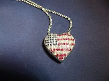18K White Gold Diamond, Ruby and Sapphire American Flag Heart Necklace