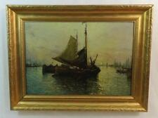 Antique Marine Art Oil Painting of Sail Boats at Sunset Signed But Illegible
