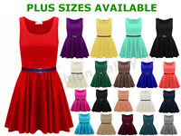 LADIES SLEEVELESS FLARED FRANKI SHORT PARTY WOMENS SKATER DRESS TOP SIZE 8-26
