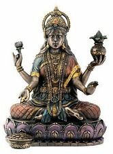 Lakshmi Laxshmi Prosperity Hindu Goddess with Coins Bronze Resin Statue #YT7854