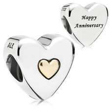 Original PANDORA Element Bicolor Charm 791290 Happy Anniversary