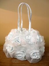 GORGEOUS HANDMADE SILK BLEND & VOILE ROSE BAGS IN GLACIER WHITE-PERFECT GIFT